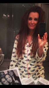 Kyle Richards taking a selfie while shes wearing her pajamas.