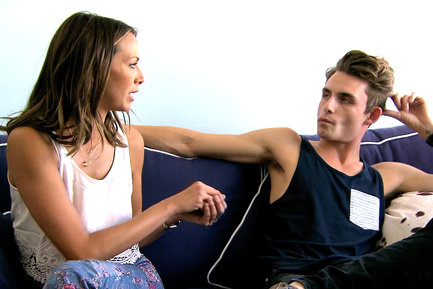 kristen and james from vanderpump rules argue on the couch