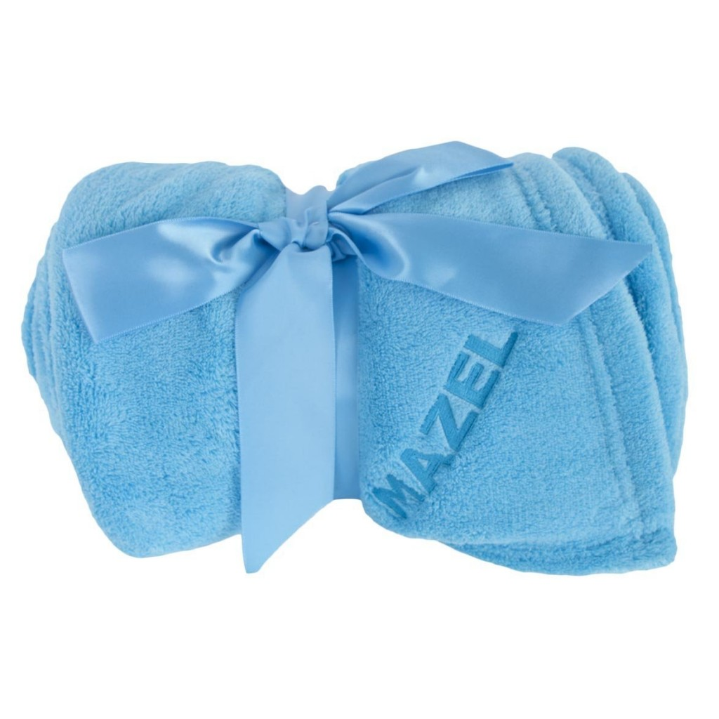 "A beautiful baby blue plush blanket with the caption ""Mazel,"" on it."