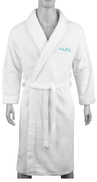 "This is a picture of a white ""Watch What Happens Live,"" robe with the word ""Mazel,"" on it."