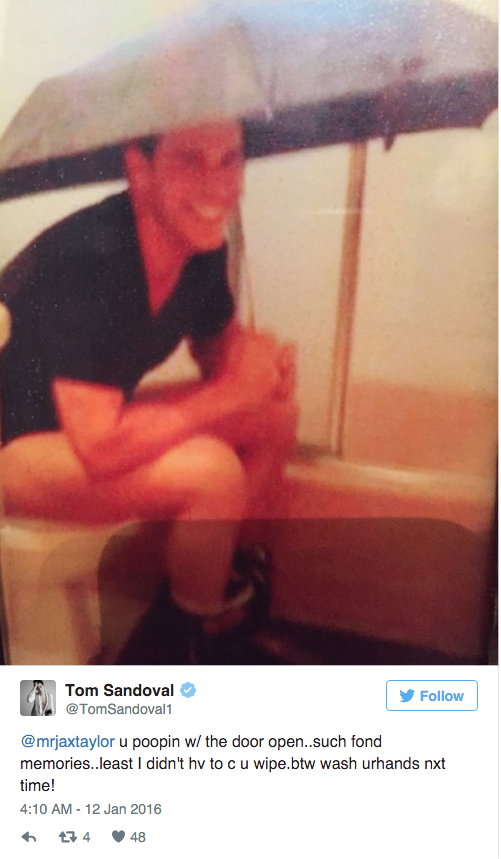 Jax Taylor sitting on the toilet