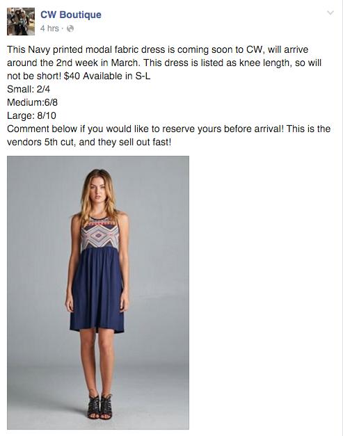 CW boutique facebook status