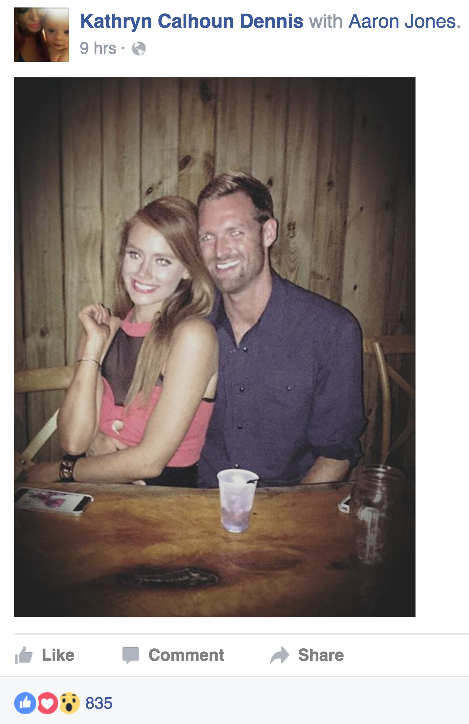 Kathryn Dennis posts a Facebook status of herself with Aaron Jones
