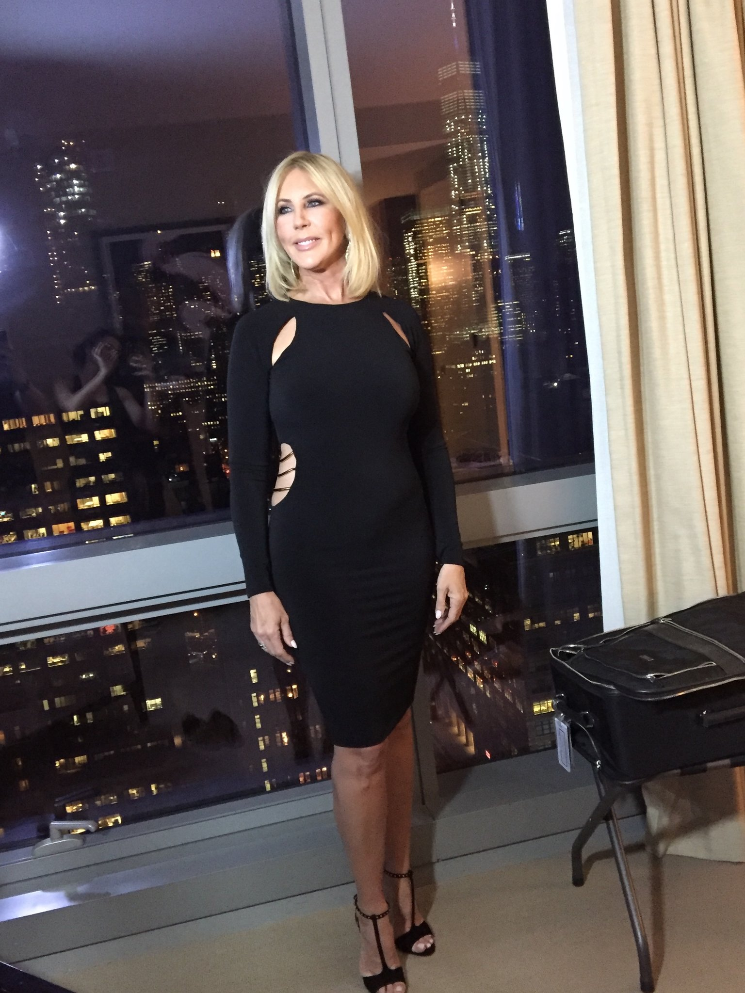 Vicki Gunvalson in a black dress showing off her weight loss.