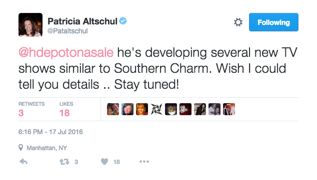 Patricia Altschul tweet about southern charm