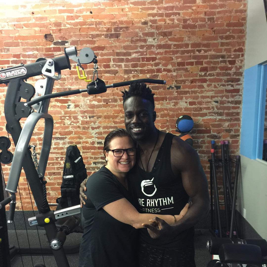 caroline manzo at the gym with her trainer